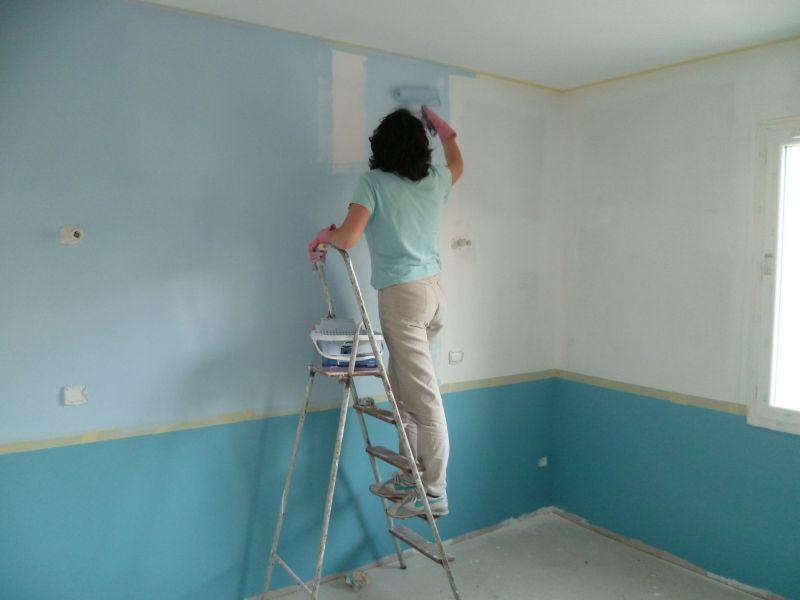 Peinture maisondusuddansleberry for Chambre enfant bleu et vert